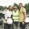 "ГАЛЕРЕЯ | В Эстонии проходят съемки сериала ""Беса"": автокатастрофа и падение машины в воду с моста"
