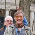 """EESTLASED TŠORNOBÕLIS: (Vasakult) Operaator Igor Ruus ja saate """"Tšornobõli katastroofi pikk vari"""" autor Peeter Võsa."""