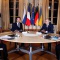 Normandia neliku kohtumine 2019. aastal. Ukraina president Volodõmõr Zelenskõi, Prantsumaa riigipea Emmanuel Macron, Venemaa president Vladimir Putin ja Saksamaa liidukantsler Angela Merkel.
