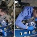 Christina Koch geenikääre kasutamas (foto: NASA, Sebastian Kraves)
