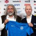 Eesti Jalgpalli Liidu president Aivar Pohlak ja A-koondise peatreener Karel Voolaid, kelle leping saab kolmapäevase kohtumise järel läbi.