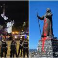 Vasakul Kolumbuse kuju, mis USAs maha võeti; paremal kuju Gröönimaal, mis vahepeal värviga üle kallati. Rahvahääletusel leiti, et see jääb alles.