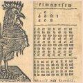 Vasakul aabitsakukk Riias 1724. aastal trükitud tartukeelsest aabitsast. Keskel aabitsakukk B. G. Forseliuse tallinnaeesti aabitsa lõpust. Paremal B. G. Forseliuse tallinnaeesti aabitsa esileht.