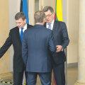 Eesti, Läti ja Poola kolleegid tegid Leedu peaministrile Algirdas Butkevičiusele (keskel näoga) selgeks, et tal tuleb trassi kulgemise küsimus Euroopaga ära klaarida ja Rail Balticu ühisfirma rajamisega peab kiiresti edasi liikuma.