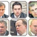 Tuntumad kandidaadid, keda Eesti Päevalehele politseijuhi kohale pakuti (ülevalt vasakult): Raivo Aeg, Andreas Anvelt, Eerik Heldna, Marek Helm, Erkki Koort ja Indrek Tibar.