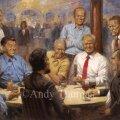 Trump riputas Valge Maja seinale maali endast koos endiste presidentidega jookide taga naljatamas