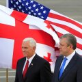 U.S. Vice President Mike Pence and Georgian Prime Minister Georgy Kvirikashvili attend a welcoming ceremony at the Tbilisi International Airport