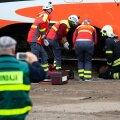 Kriisiõppus Kopli kaubajaamas, mille stsenaariumi kohaselt põrkasid kokku reisi- ning kaubarong. 26.09.2019