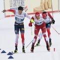 Johannes Høsflot Klæbo ja Aleksandr Bolšunovi finišiheitlus.