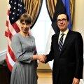 President Kersti Kaljulaid ja USA rahandusminister Steven Mnuchin.
