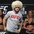 Official weigh-in ceremony for UFC lightweight fighters Nurmagomedov and Poirier