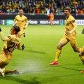 Bodö/Glimti mängijad tähistamas AS Roma võrku löödud väravat.