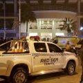 Police and security are ramped up outside a hotel where two attackers opened fire in the Egyptian Red Sea resort town of Hurghada