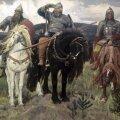 Dobrõnja Nikititš, Ilja Muromets ja Aljoša Popovitš kuulsal Viktor Vasnetssovi maalil
