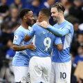 City mängijad Raheem Sterling ja Jack Grealish õnnitlevad võiduvärava löönud Gabriel Jesust.