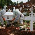 Koroonasse surnud inimeste jaoks on Indoneesia pealinnas Jakartas kalmistutel eraldid sektsioonid. Fotol matus möödunud kuu lõpul Pondok Rangoni surnuaias, kus on koroonaohvrite ala üha laienenud.