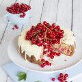 RETSEPT | Punasesõstrakook valgest šokolaadist ja sidrunist glasuuriga