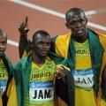Vasakult: Asafa Powell, Nesta Carter, Usain Bolt ja Michael Frater Pekingi olümpial