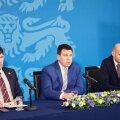 Valitsuserakondade juhid Martin Helme (vasakult), Jüri Ratas ja Helir-Valdor Seeder esitlesid täna järgmise, valimiste aasta eelarvet, milles häid uudiseid peitub peaaaegu kõigi jaoks.