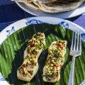 Banaanilehel grillitud aasiapärane kalafilee.