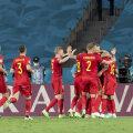 Belgia koondis väravat tähistamas.