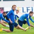Dnipro mängijad tegid eile Tallinnas soojendust.