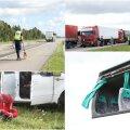 FOTOD SÜNDMUSKOHALT: Tallinna lähedal Vaidas põrkasid kokku buss ja maastur, viga said naine ja kaks last