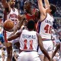 VIHAVAENLASED: Detroit Pistons oli NBA kõige jõhkrama mängustiiliga meeskond. Nende peamine reegel Jordani takistamiseks nägi ette tema füüsilist mahaniitmist enne korvini jõudmist.