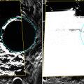 Ligikaudu 60 -kilomeetrise läbimõõduga Kandinsky kraater asub Merkuuri põhjapooluse ligidal. Messengeri fotode kinnitusel on kraatri põhjas jääkiht. Foto: NASA/JHU/Carnegie