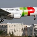 TAP Portugal airlines' Airbus 330 aircraft lands in Lisbon airport