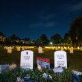 George Floydi tapmise järel püsti pandud sümboolsed hauakivid Minneapolises.