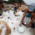 Graanulid on igal pool. Pildil korjavad vabatahtlikud graanuleid kokku Hong Kongis aastal 2012. Need sattusid merre, kui taifuun pühkis laevalt merekonteinereid
