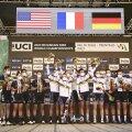 Võistkondliku teatesõidu pjedestaalil seisid Prantsusmaa, USA ja Saksamaa ratturid.