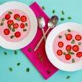 Külm maasikasupp, risoto