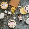 Kosmeetika stardikomplekt sisaldab toorainet ja pakendeid ning nelja retseptiideed.