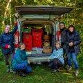 Loodusmuuseumi teadlased seenenäituse tarbeks seeni kogumas Valkla metsas. Vasakult paremale: Anna-Grete Rebane, Loore Ehrlich, Karin Truuver, Lennart Lennuk ja  Ly Vetik.
