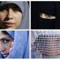 Hidžaab (üleval vasakul), niqaab (üleval paremal), tchador (all vasakul) ja burka.