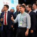 Volodõmõr Zelenskõi ja tema meeskond pärast 21. juuli valimisi oma erakonna peakorteris