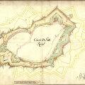 Tallinna kindlustuste kaart 1710. aasta seisuga. Kollasega on näha Dahlberg-Esseni generaalplaan.