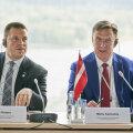 Eesti peaminister Jüri Ratas ja Läti peaminister Māris Kučinskis täna Riias ühisistungil.