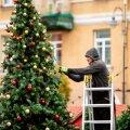 ФОТО | Вильнюсцы потрясены: в центре столицы появилась елка и рождественский городок