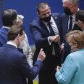 """Austria kantsler Kurz ja Saksa kantsler Merkel (esiplaanil) tahtsid Venemaa suhtes """"konstruktiivsemat"""" arutelu kui Leedu ja Poola liidrid (paremal)"""