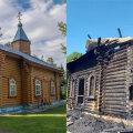 ФОТО | Пожар вновь уничтожил церковь Казанской иконы Божией Матери в Нарва-Йыэсуу