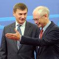 Täna õhtul saab peaminister Andrus Ansip (vasakul) teada, kas ülemkogu eesistuja Herman van Rompuy jätab Rail Balticu alles. Foto: AFP/Scanpix