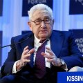 Henry Kissinger, chairman of Kissinger Associates, speaks during the annual meeting of the World Economic Forum in Davos