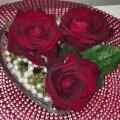 Süda magavate roosidega. Täitke klaasanum samblaga, torgake roosid sambla sisse ja puistake peale pärlid.