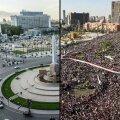 Egiptuse pealinna Kairo keskväljak praegu (vasakul) ja kümme aastat tagasi