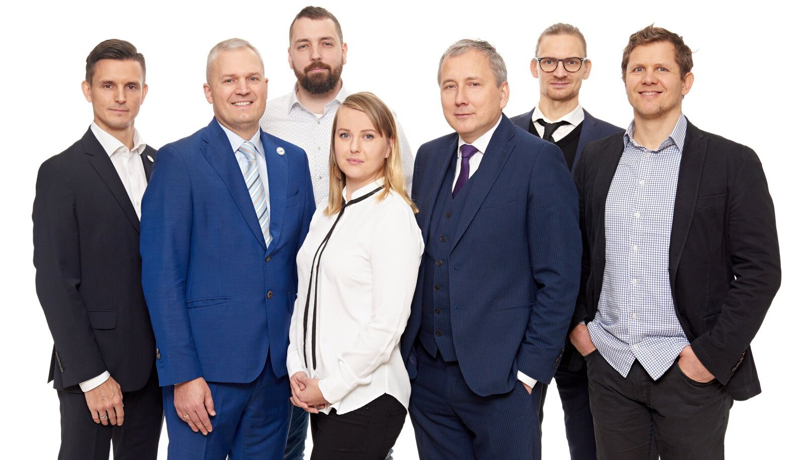 Vasakult paremale: Henri Ormus, Kalev Kallemets, Kaspar Kööp, Merja Pukari, Sandor Liive, Marti Jeltsov, Mait Müntel