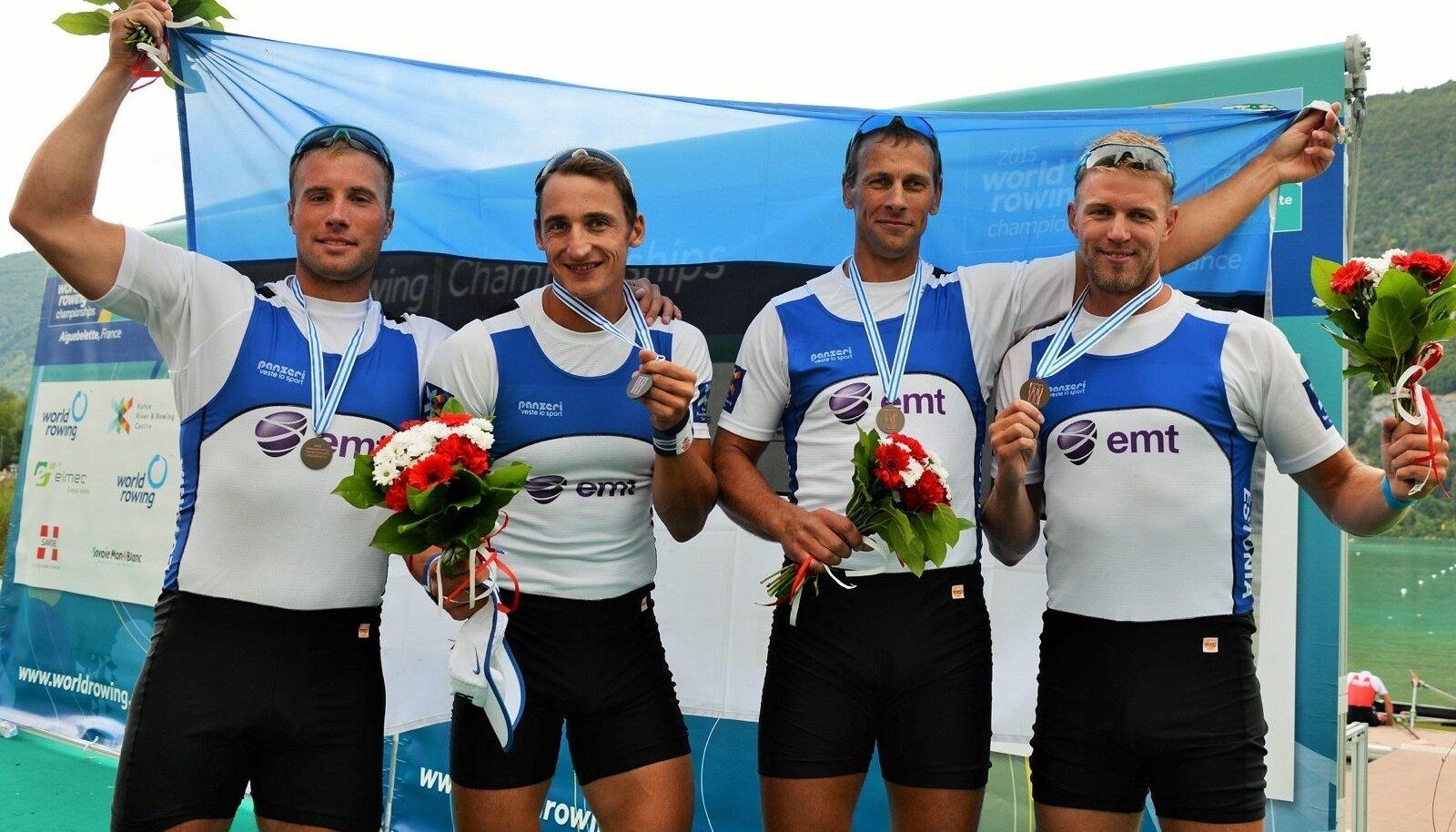 Õnnelik neljapaadi meeskond: (vasakult) Andrei Jämsä, Allar Raja, Tõnu Endrekson ja Kaspar Taimsoo