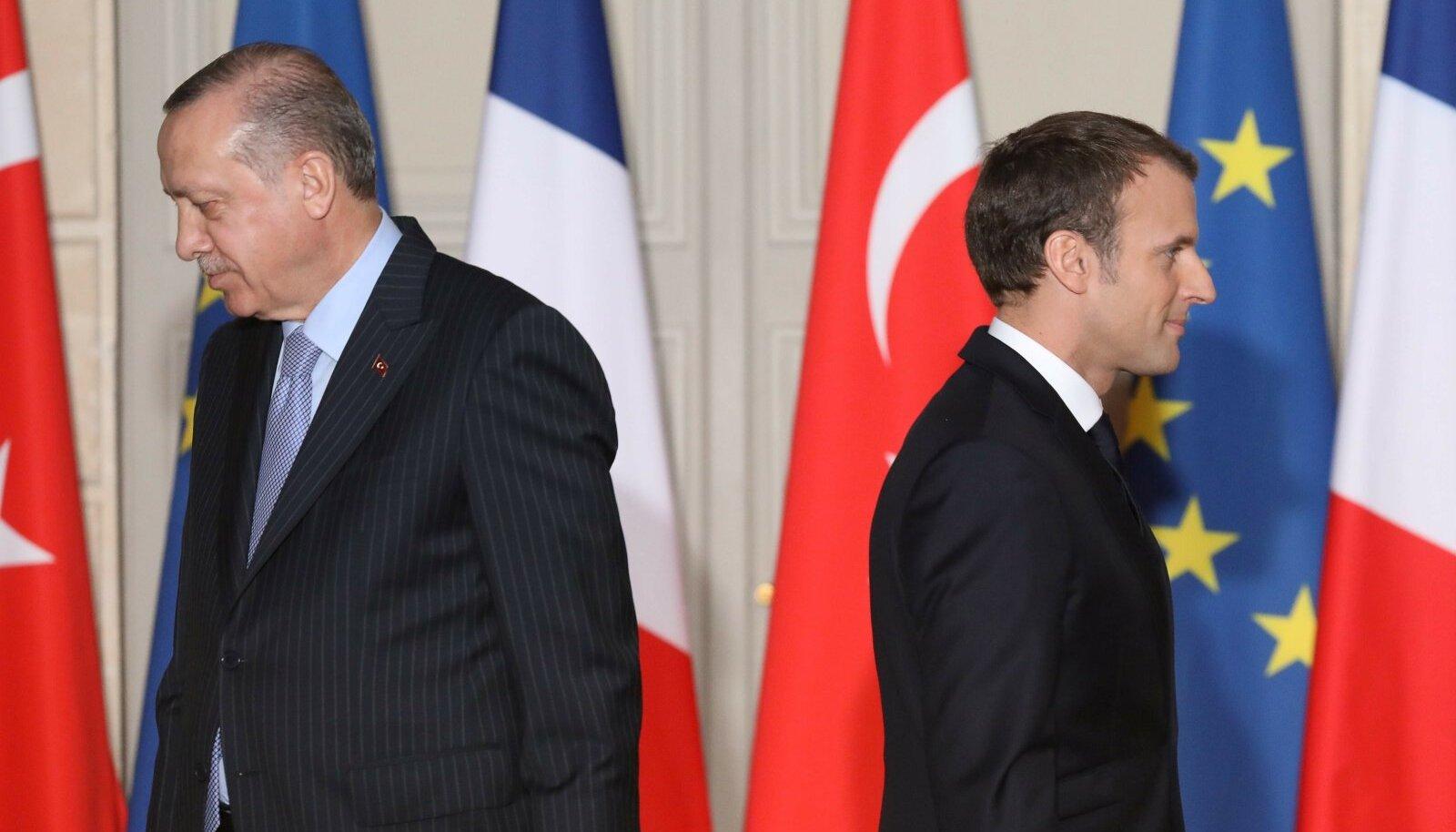 SÜGAV LÕHE: Recep Tayyip Erdoğani (vasakul) ja Emmanuel Macroni vaheline suhe on jõudnud tõelisesse madalpunkti